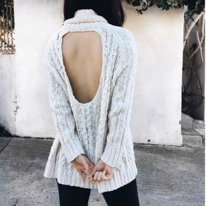 Free People ivory cable knit open back sweater